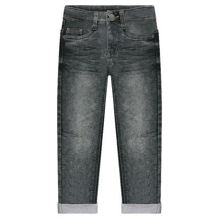Jeans en molleton effet used et crinkle