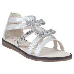 Nu-pieds blancs et argentés à zip et noeuds