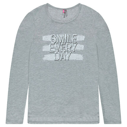 Junior - Tee-shirt manches longues coupe longue avec message printé