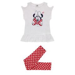 Ensemble avec tee-shirt à épaules ajourées print Dinsey Minnie et legging