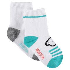Lot de 2 paires de chaussettes assorties avec animaux en jacquard