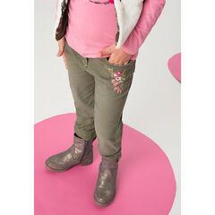 Jeans effet used kaki avec fleurs brodées