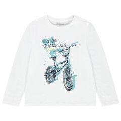 T-shirt manches longues en coton bio à imprimé fantaisie