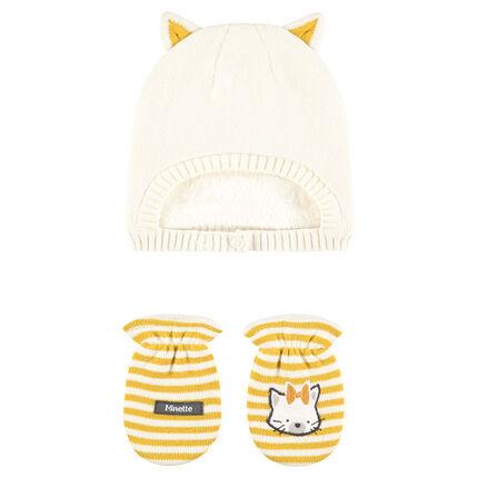 Ensemble bonnet doublé sherpa et moufles rayées print chat