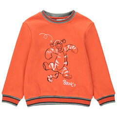 Sweat en molleton orange print Tigrou Disney devant et au dos