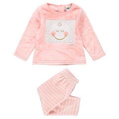 Pyjama en sherpa et velours avec ©Smiley patché et rayures contrastées
