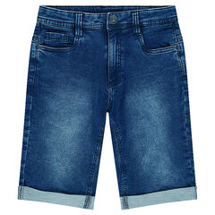 Junior - Bermuda en molleton effet denim used
