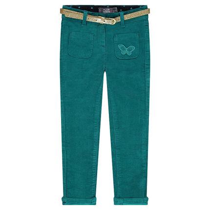 Pantalon slim en velours à ceinture amovible