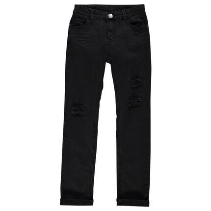 Junior - Jeans coupe slim effet crinkle avec usures fantaisie