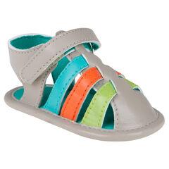 Nu-pieds à brides multicolores et scratch