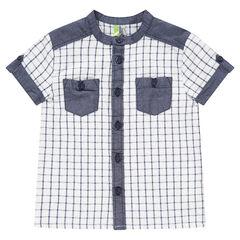 Chemise manches courtes à carreaux avec empiècements en chambray