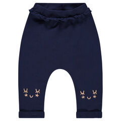 Pantalon de jogging en molleton uni avec détails printés