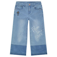 Junior - Jeans ample effet used avec palmier patché