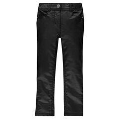 Pantalon slim enduit noir avec détails fantaisie