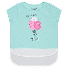 Tee-shirt manches courtes effet 2 en 1 avec print fantaisie