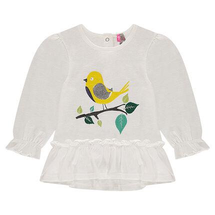 Tee-shirt manches longues volanté avec oiseau printé et feuilles brodées