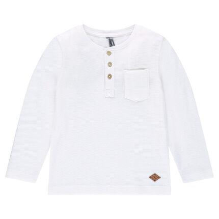 Junior - Tee-shirt manches longues en nid d'abeille avec col tunisien