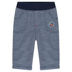 Pantalon en coton fantaisie avec print logo