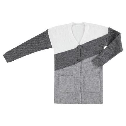 Junior - Gilet en maille tricolore avec poches