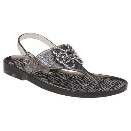 Nu-pieds en plastique à paillettes strass et imprimé zébré