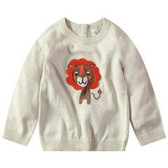 Pull en tricot avec lion en jacquard
