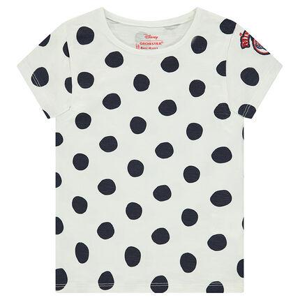 Tee-shirt manches courtes à pois all-over avec motif brodé