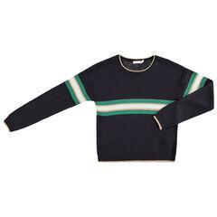 Junior - Pull en tricot avec bandes contrastées et touches de doré