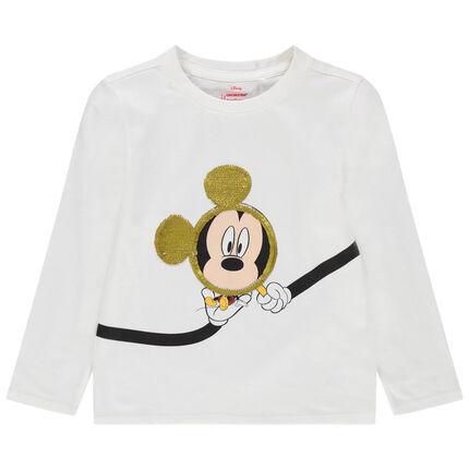 T-shirt manches longues en jersey print Mickey Disney et sequins magiques