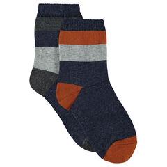 Lot de 2 paires de chaussettes assorties avec rayures jacquard