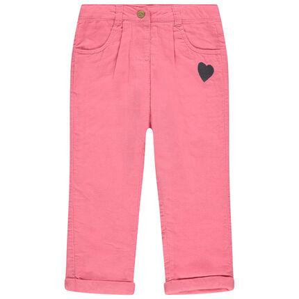 Pantalon en velours doublé jersey avec coeur brodé