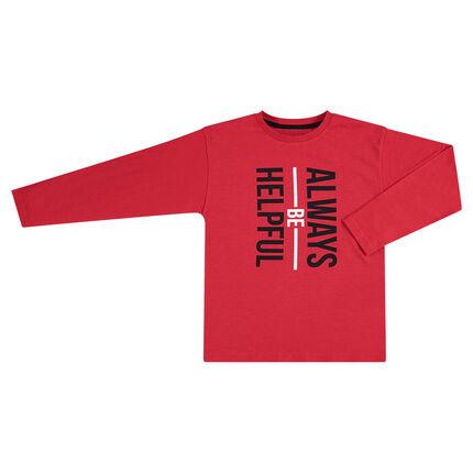 Tee-shirt manches longues rouge avec texte printé