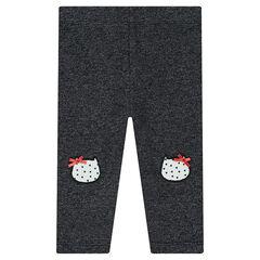 Legging en molleton avec patchs forme chat