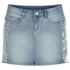 Junior - Jupe en jeans effet used avec bandes argentées