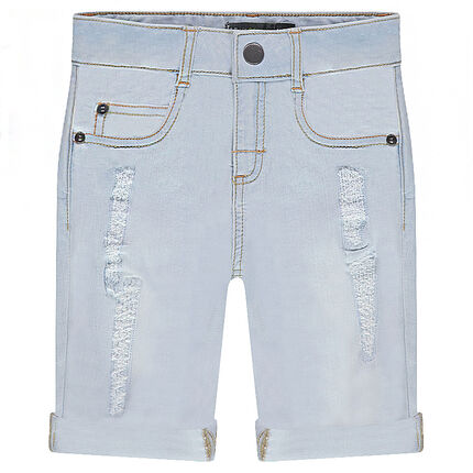 Bermuda en denim bleach effet used