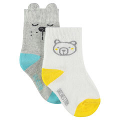 Lot de 2 paires de chaussettes assorties avec motif ourson