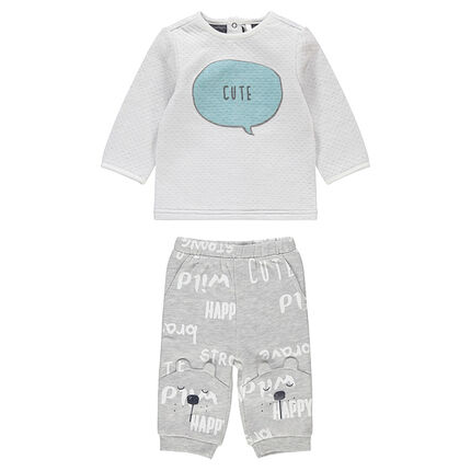 Ensemble avec tee-shirt en double jersey et pantalon print ourson