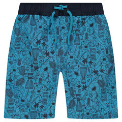 Short de bain bleu imprimé all-over