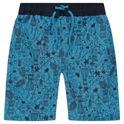Short de bain bleu imprimé all-over