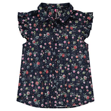 Junior - Chemise manches courtes volantées à fleurs all-over