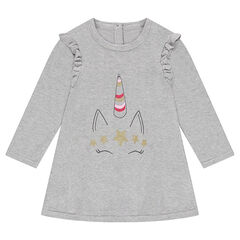 Robe manches longues en tricot avec licorne pailletée printée