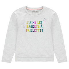 Junior - Sweat en molleton uni avec motif fantaisie