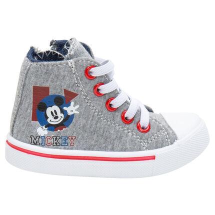 Baskets montantes en jersey à lacets et zip print Mickey Disney du 20 au 23