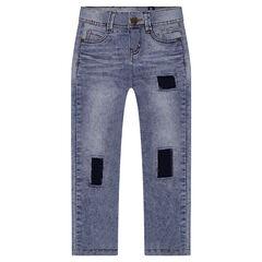 Junior - Jeans slim effet used avec patchs