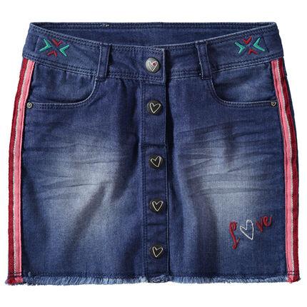 Jupe en jean effet used ave bandes contrastées et broderies