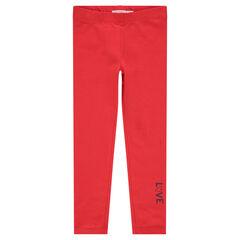 Legging en jersey rouge avec inscription printée