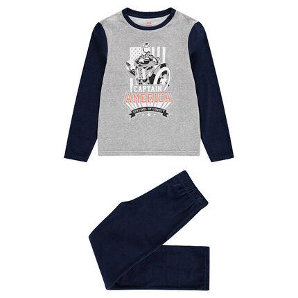 Junior - Pyjama en velours avec print Marvel Captain America