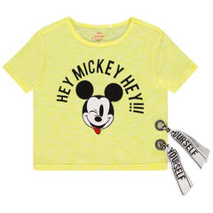 T-shirt manches courtes surteint print Mickey Disney à bandes