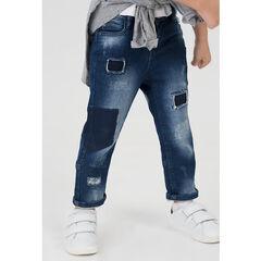 Jeans en denim like effet used avec déchirures et poches