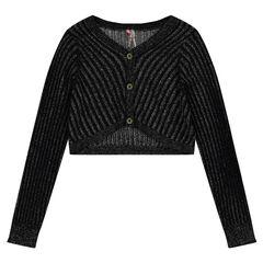 Junior - Boléro en tricot côtelé avec fil argenté