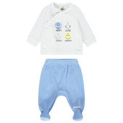 Pyjama en velours bicolore avec prints Smiley